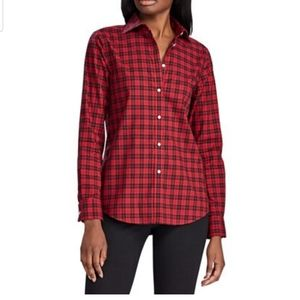 Red plaid button up long sleeve shirt